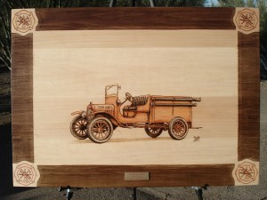 1916 Ford Fire Vehicle Woodburning