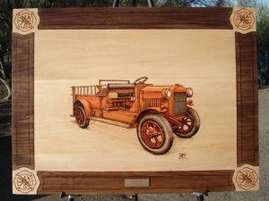 1923 GMC Pumper Fire Truck Woodburning