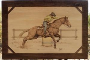 Barrel Racing Woodburning