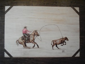 Calf Roping Woodburning
