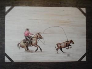 Calf Roping Woodburning