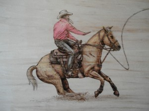 Calf Roping Rider Detail Woodburning
