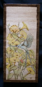 Flowers with Bird Woodburning